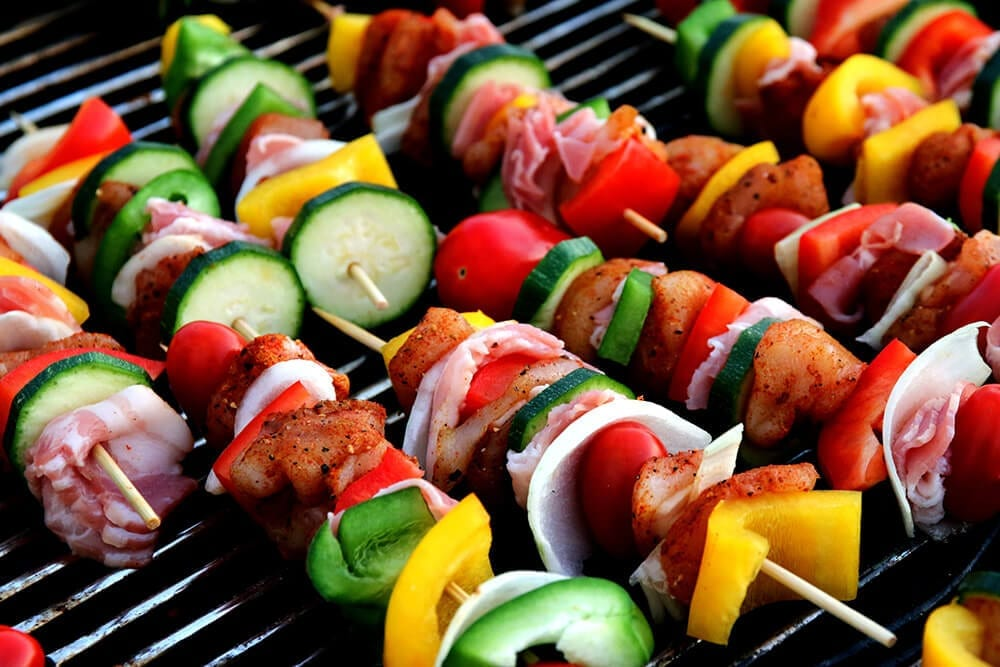 shish kebab skewer on a pellet grill